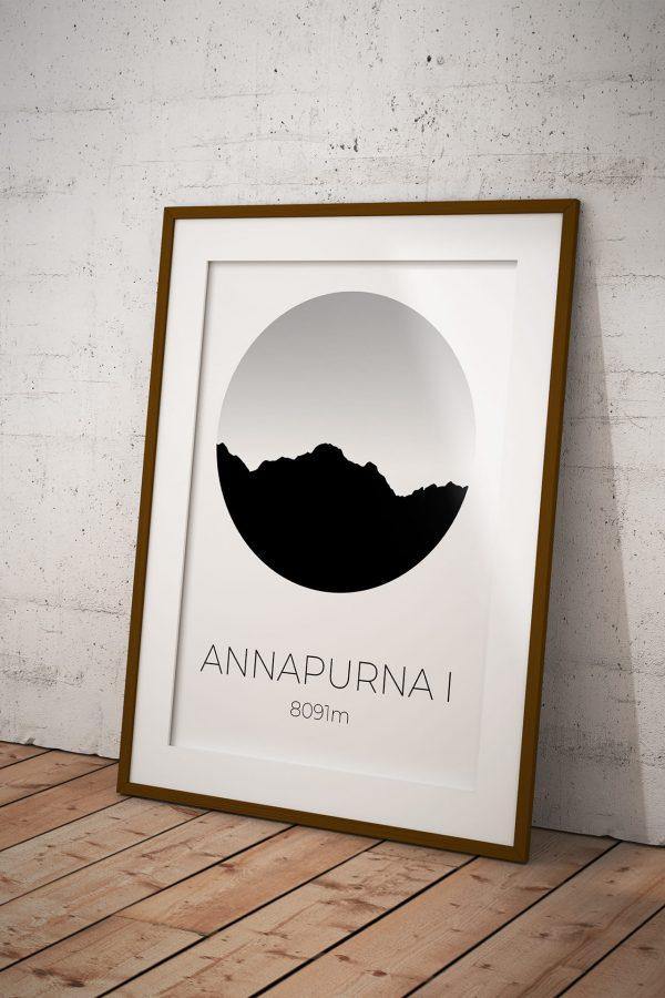 Annapurna I silhouette art print in a picture frame