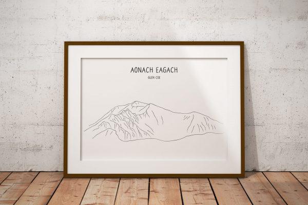 Aonach Eagach line art print in a picture frame