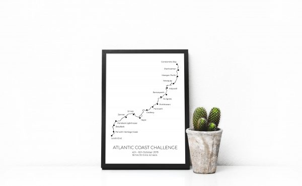 Atlantic Coast Challenge - Custom GPX Route Print in a picture frame
