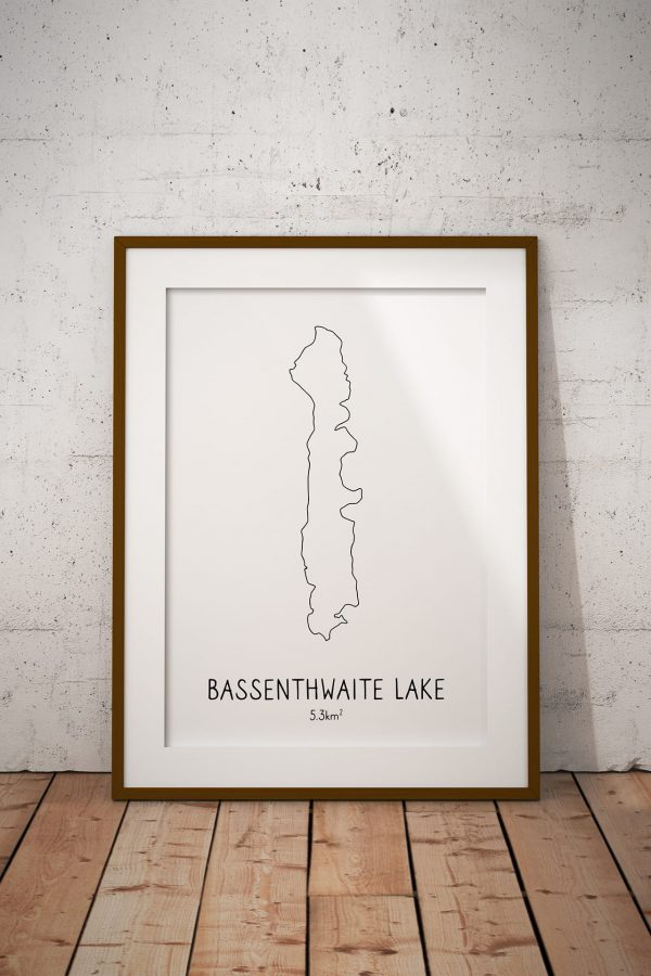 Bassenthwaite Lake line art print in a picture frame