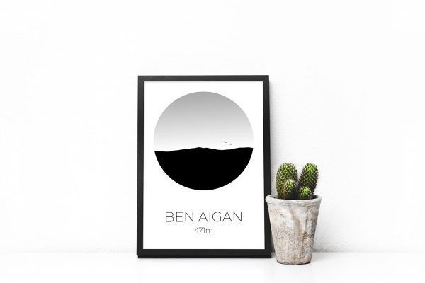 Ben Aigan silhouette art print in a picture frame