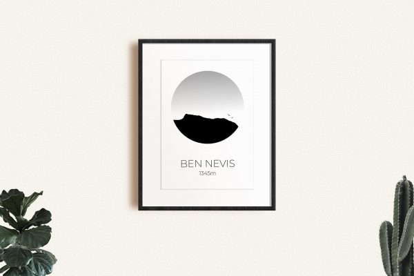 Ben Nevis art print in a picture frame