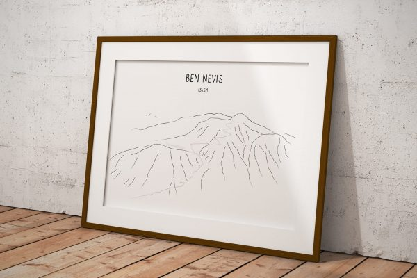 Ben Nevis Mountain Lake line art print in a picture frame