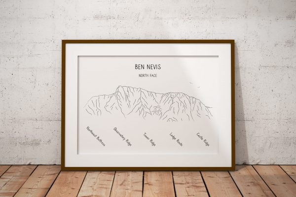 Ben Nevis North Face line art print in a picture frame