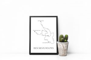 Ben Nevis Routes art print in a picture frame
