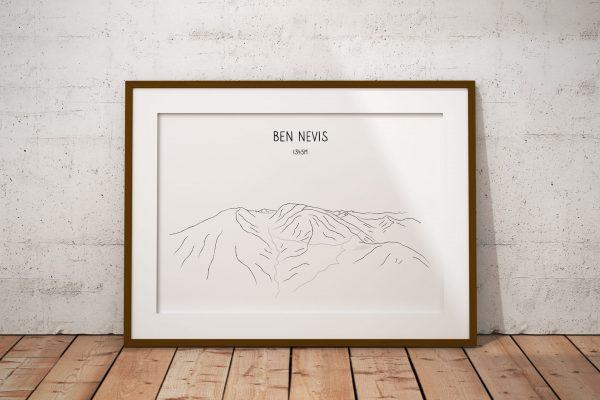 Ben Nevis skyline line art print in a picture frame