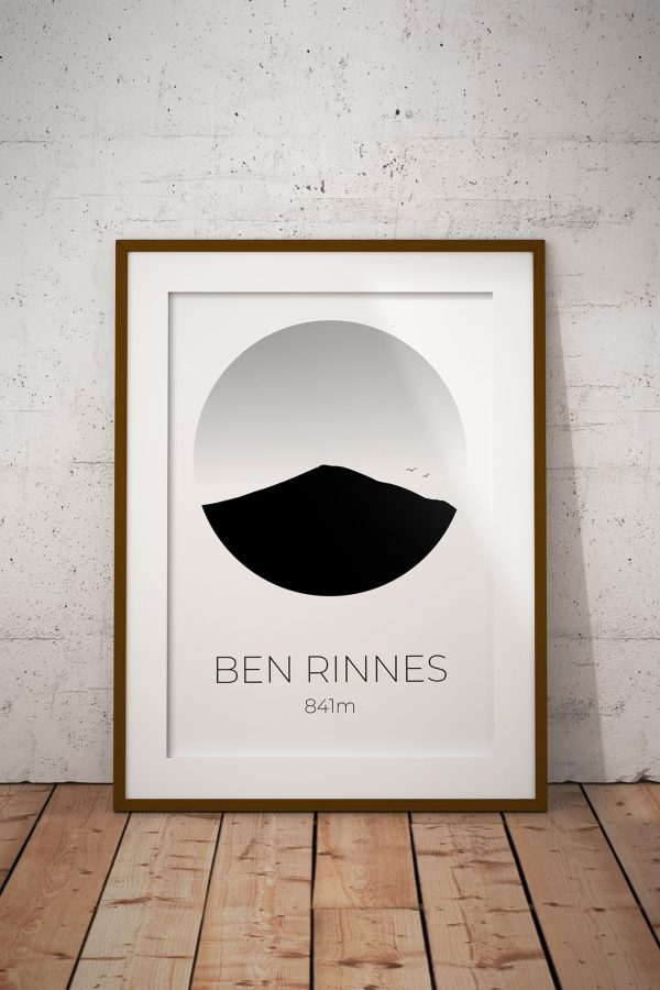 Ben Rinnes silhouette art print in a picture frame