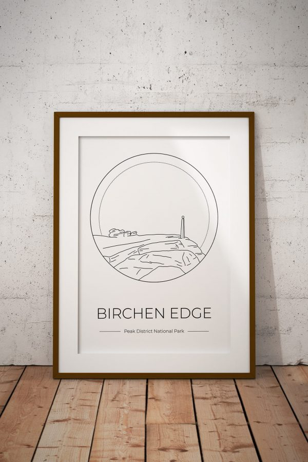 Birchen Edge art print in a picture frame