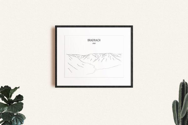 Braeriach line art print in a picture frame