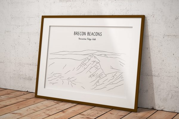 Brecon Beacons Horseshoe line art print in a picture frame