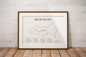 Brecon Beacons mountains checklist art print in a picture frame