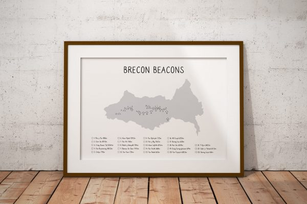 Brecon Beacons mountain checklist shaded art print in a picture frame
