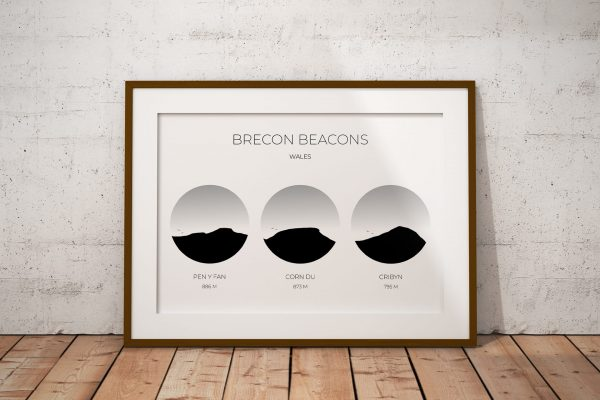 Brecon Beacons art print in a picture frame