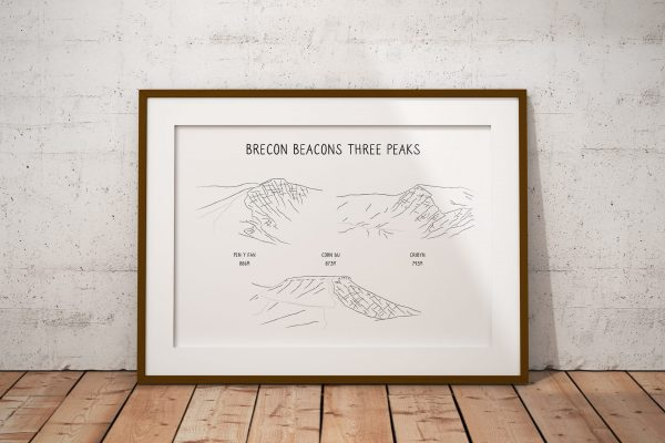 Brecon Beacons Three Peaks horizontal line art print in a picture frame
