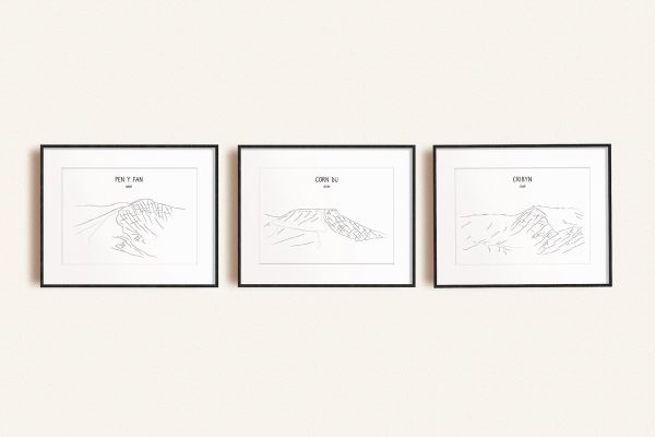 Brecon Beacons set of three line art prints in picture frames