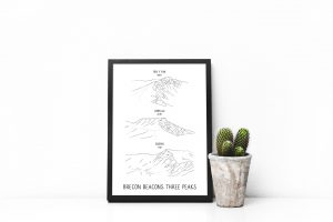 Brecon Beacons Three Peaks vertical line art print in a picture frame
