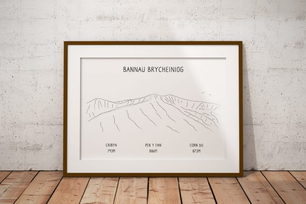 Brecon Beacons line art print in a picture frame