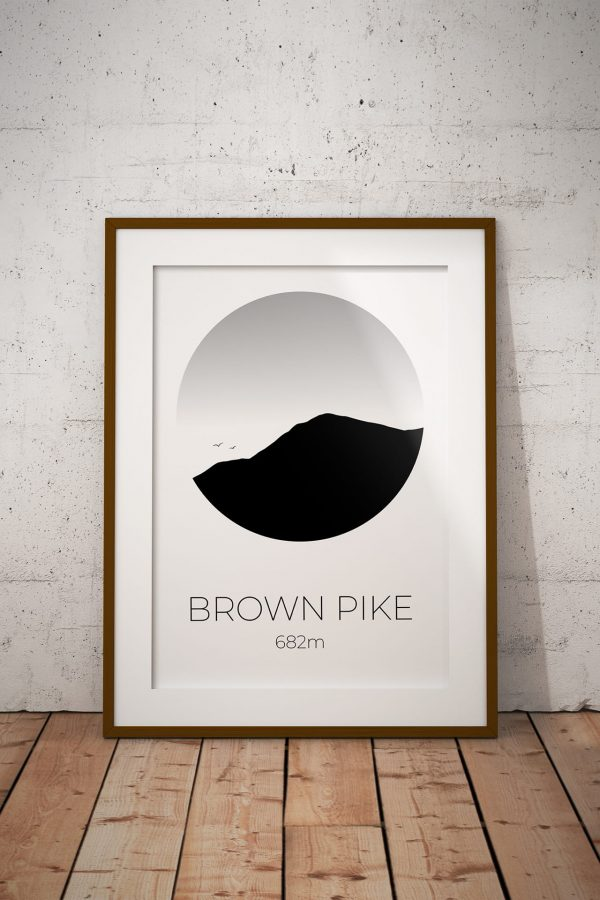 Brown Pike silhouette art print in a picture frame
