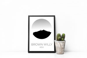 Brown Willy silhouette art print in a picture frame