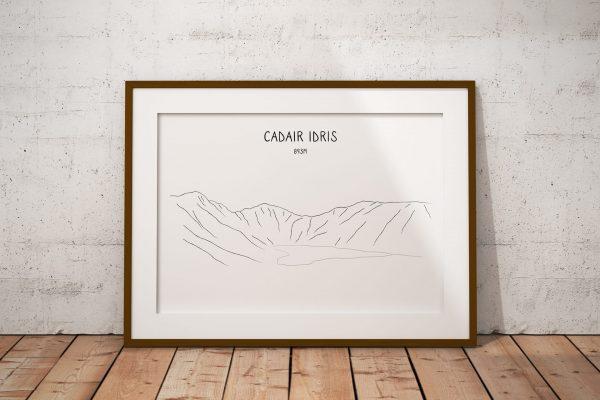 Cadair Idris line art print in a picture frame