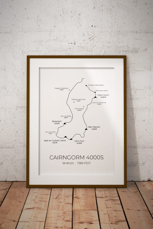 Cairngorm 4000s route art print in a picture frame