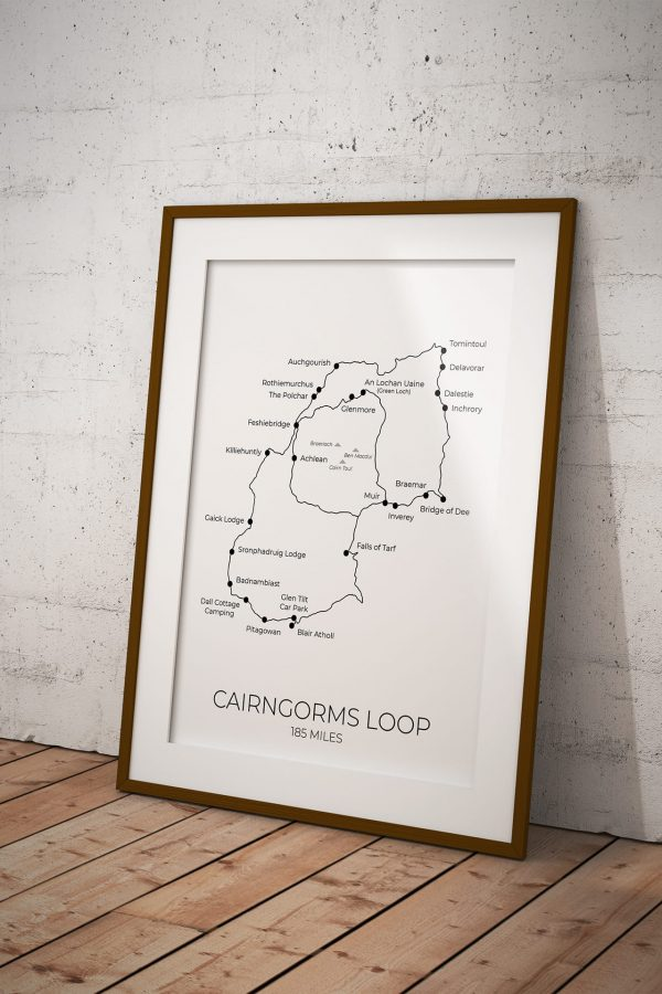 Cairngorms Loop art print in a picture frame