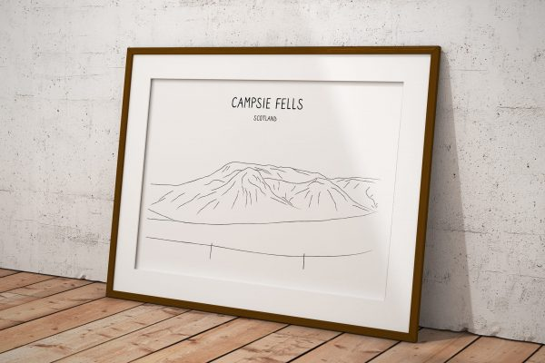 Campsie Fells line art print in a picture frame