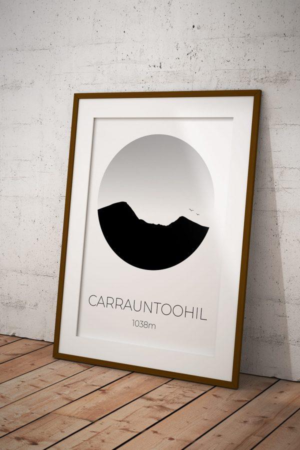 Carrauntoohil silhouette art print in a picture frame