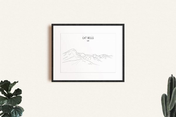 Cat Bells line art print in a picture frame