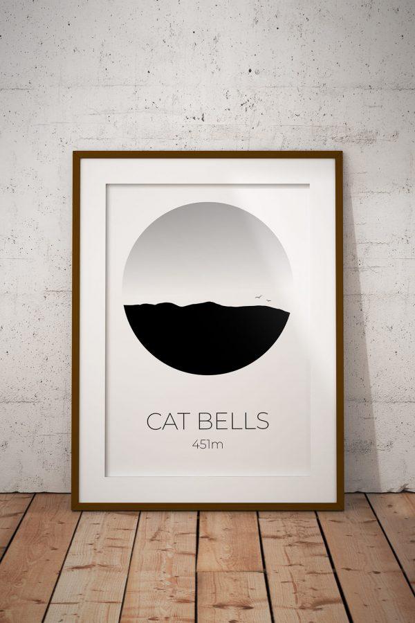 Cat Bells art print in a picture frame