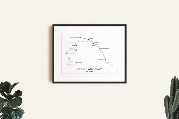 Cleveland Way art print in a picture frame