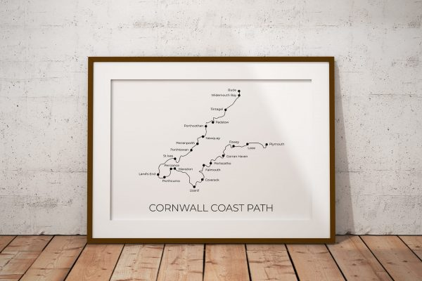 Cornwall Coast Path art print in a picture frame