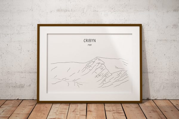 Cribyn line art print in a picture frame