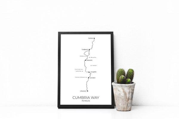 Cumbria Way art print in a picture frame