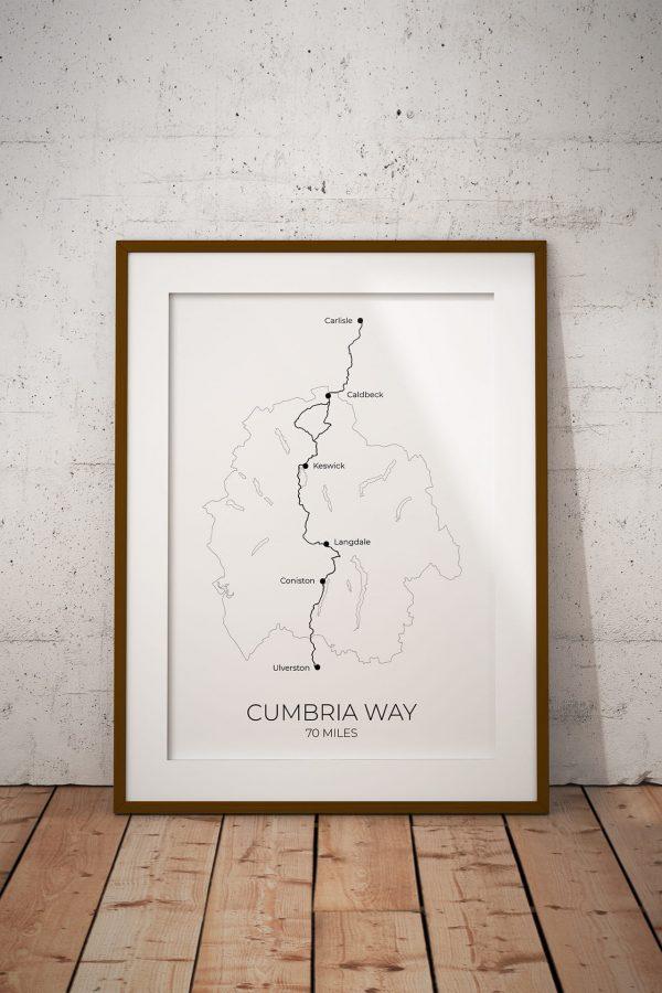 Cumbria Way map art print in a picture frame