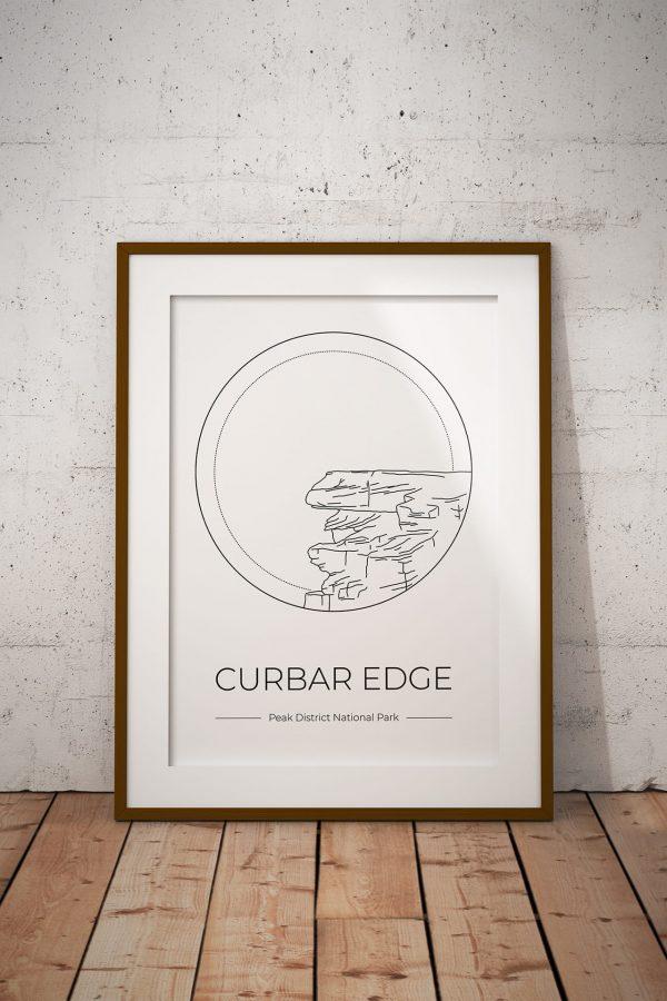 Curbar Edge art print in a picture frame