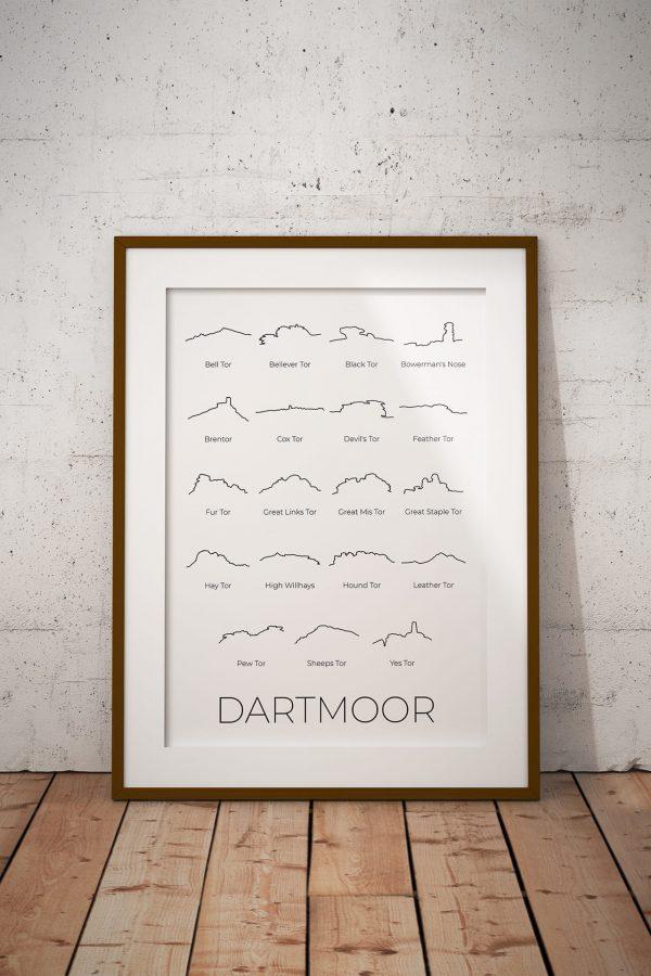 Dartmoor 19 Tors line art print in a picture frame