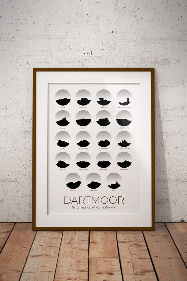 Dartmoor 19 Tors Personalised Print Example