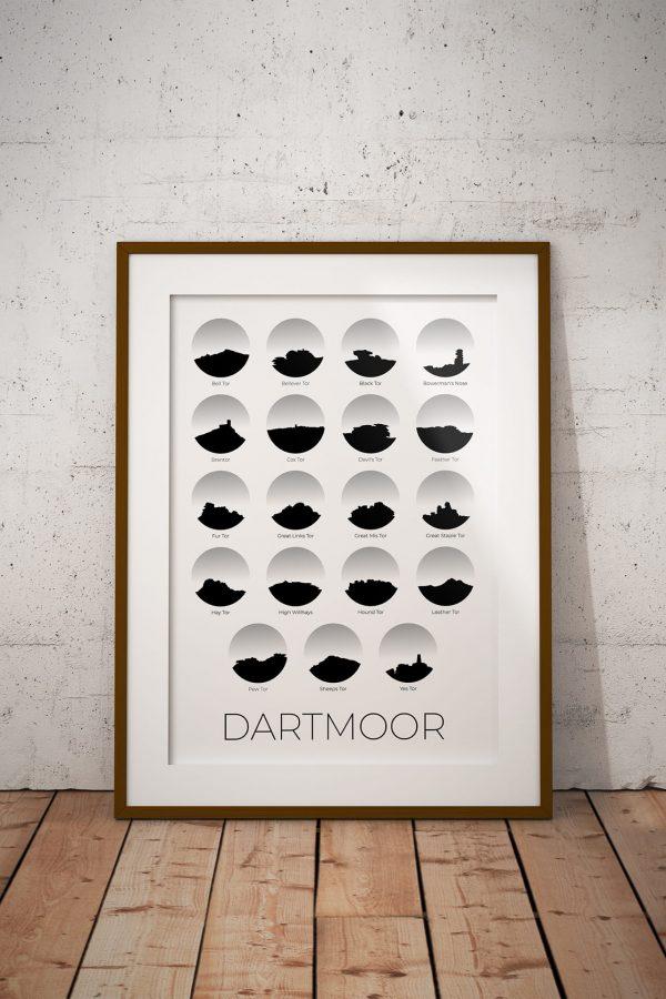 Dartmoor 19 Tors art print in a picture frame