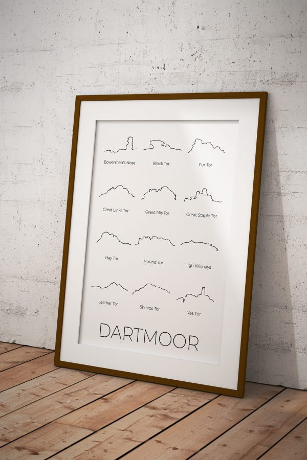Dartmoor line art print in a picture frame