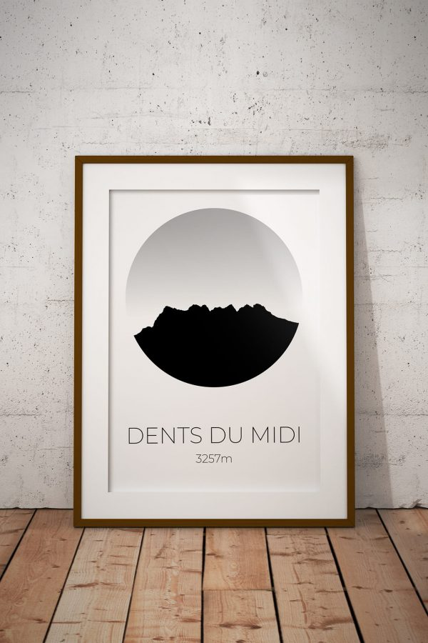 Dents du Midi silhouette art print in a picture frame
