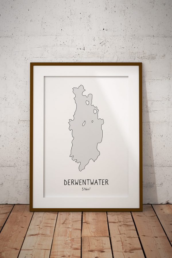 Derwentwater shaded art print in a picture frame