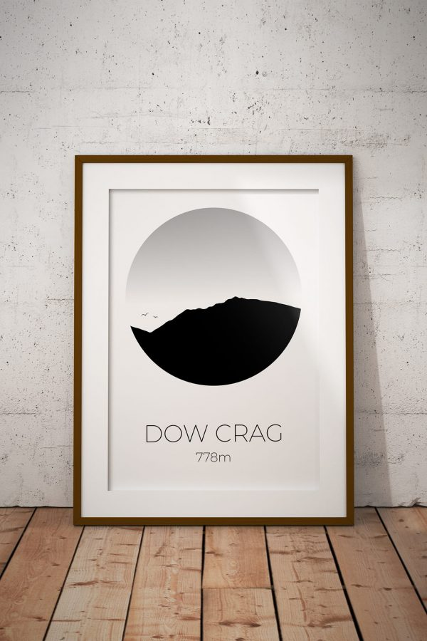 Dow Crag silhouette art print in a picture frame