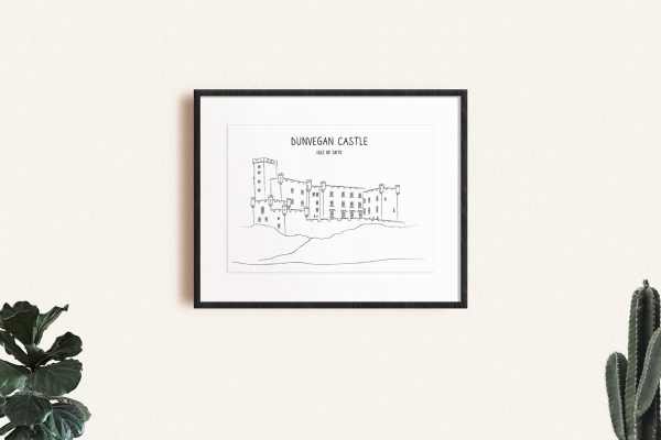 Dunvegan Castle line art print in a picture frame