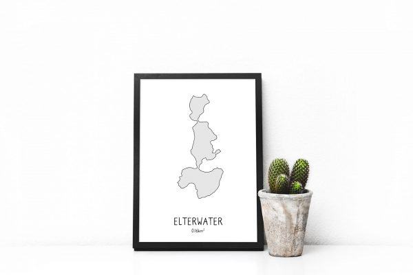 Elterwater shaded art print in a picture frame