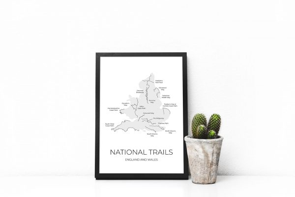 National Trails map art print in a picture frame