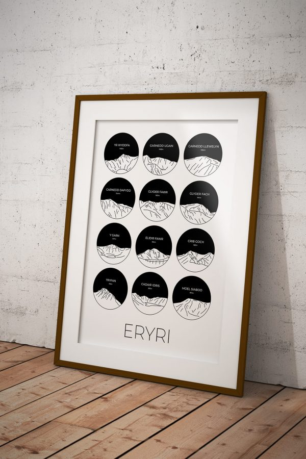 Eryri collage art print in a picture frame