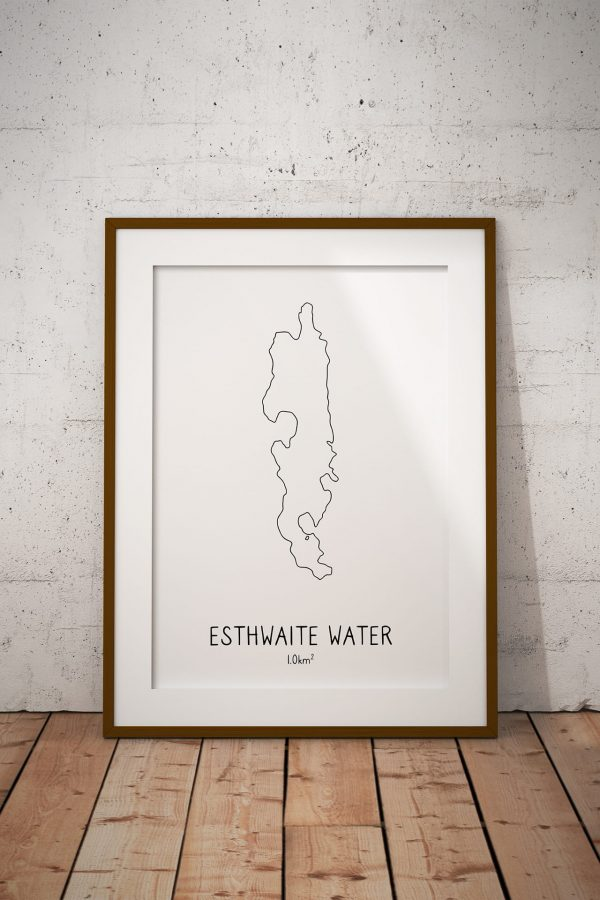 Esthwaite Water line art print in a picture frame