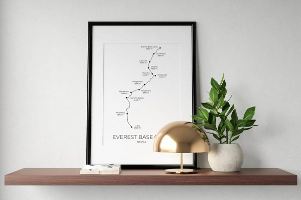 Everest Base Camp Trek art print in a picture frame
