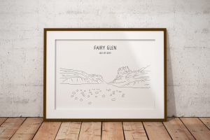 Fairy Glen line art print in a picture frame